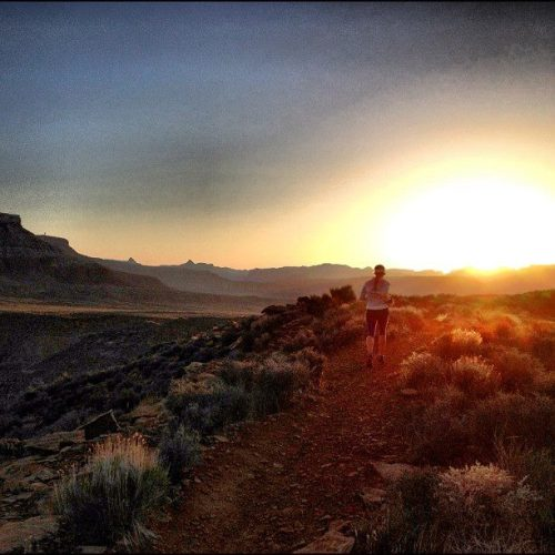 Along the Hurricane Rim trail, you'll likely catch a sunrise like this.